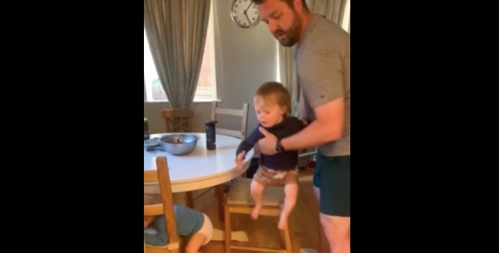 Dad Hilariously Struggles to Keep Triplets From Climbing Furniture